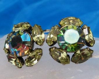 Vintage Aurora Borealis and Yellow Rhinestone Earrings Flower Design Clip ons