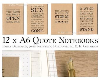 Set of 12 Poetry Notebooks | A6 Kraft Journal Set, Bulk Gift Set | Poetry Writer Gift, Poetic Inspiration Quotations | A6 Dori Insert Cahier