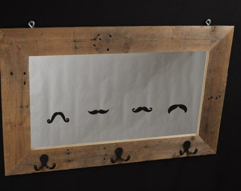 Moustache Mirror & Coat Rack (Wood Pallet)