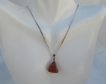 Vintage Amber Pendant and Sterling Chain