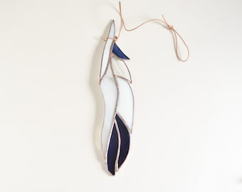 """Glass Feather 10"""" Stained Glass Suncatcher by jacquiesummer"""