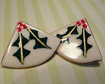 Large Holly Porcelain Ceramic Earrings
