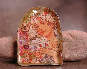 Resin Pendant, Rustic Mixed Media Mucha Flower Series, Resin Focal Bead, Divine Spark Designs, SRA