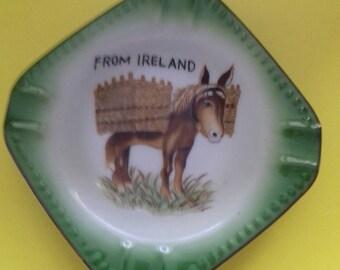 Irish vintage china donkey ashtray