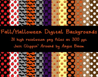 Fall and Halloween Digital Backgrounds | Digital Scrapbook papers | Instant Download