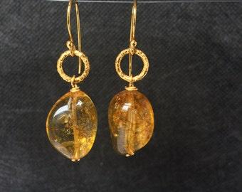 Gold Earrings, Yellow Earrings, Long Earrings, Statement Earrings,  Womens Earrings, Quartz Earrings, Drop Earrings, Gemstone Earrings