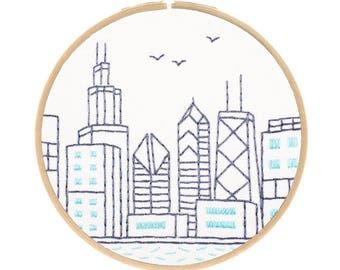 CHICAGO SKYLINE embroidery kit - hand embroidery kit, architecture embroidery, travel souvenir, embroidery hoop art by StudioMME
