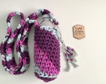 Cross body Crochet Water Bottle Bag, Water Bottle Holder Case, Water Bottle Sling, Purple, purple beads, READY TO SHIP, #vichkin
