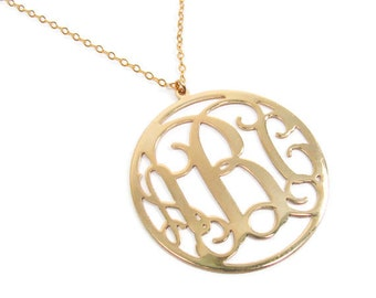 """Round monogram Necklace. 1.25"""".18k gold plated.Personalized Initial monogram necklace. Personalized gift. Gold initial necklace. gifts"""