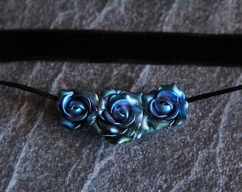 Rose choker Floral jewelry Handmade jewelry Choker with flower Polymer clay necklace Womens gift Choker ribbon Choker women Clay roses gift