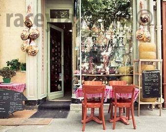 Paris Photography, Rustic Kitchen Decor, Paris Cafe, Mint Green, Beige Kitchen Art Print