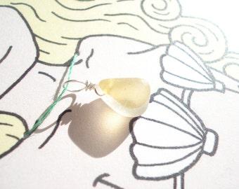 Seaham Sea Glass Yellow Multi Mermaids Tear Pendant - with mermaid gift card (MerS01) - from Seaham beach,  UK