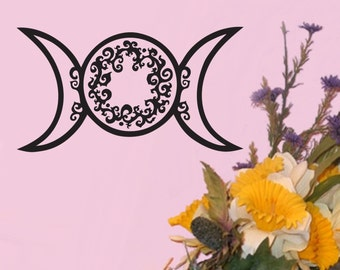 Ornate Triple Goddess Moon Triple Moon Vinyl Decal made from our original Artwork Pagan Neo Pagan Wicca various sizes and colours