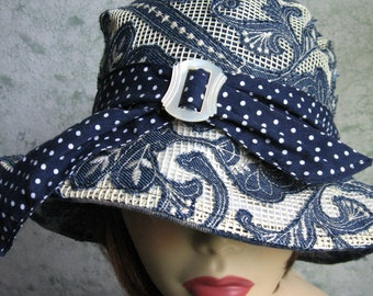 Womens Hat Wide Brimmed Sun Hat Of Light Weight Mesh Denim Navy And White Trim Band With Small Carved MOP Buckle Head Size 21- 22