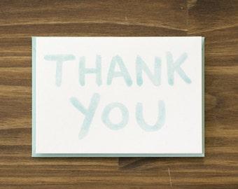 pale teal aqua watercolor thank you card