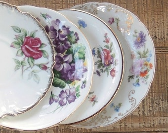 Vintage Floral Mismatched Saucers Set of 4 Wedding Assemblage Plates Wall Decor Collection