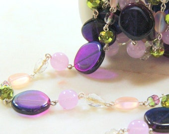 Beadlinx Bead Chain, Fantasy Flair, Silver Plate Chain, Purple, Pink And Green, Necklace And Bracelet Findings, Sold Buy By The Foot
