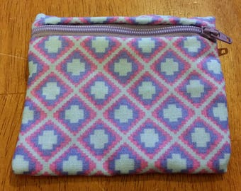 Coin Purse / Purple and Pink Print