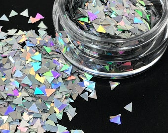 Silver Platinum Holographic Glitter Mix Solvent Resistant for Nail Art Decor Holo
