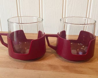 Vintage pyrex glass mugs set 1970s