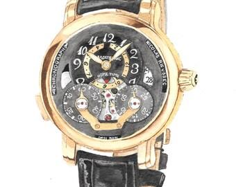 Watch art - Montblanc Nicloas Rieussec Home Time Chronograph  - Original Watercolour 11.5 x 8 (A4) Valentine