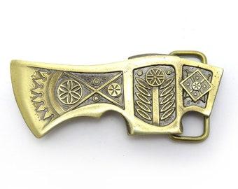 "Ax belt buckle ""Bartka""    Handmade&processed    Ax belt buckle    Solid brass axe buckle    Knife belt buckle    Brass belt buckle"