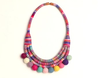 Pom Pom Necklace, Colorful Statement Rope Necklace For Women, Fabric Bib Necklace For Her, PomPom Jewelry, Big Textile Necklace