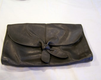 Susan Gail gray leather clutch, made in Italy, c. 1980s