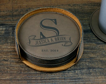 Monogrammed Coaster Set, Personalized Coasters, Custom Coasters, Engraved Coasters, Personalized Wedding Gift, Couples Gift, Anniversary