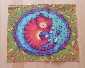 Patchwork cat and bird fabric coupon
