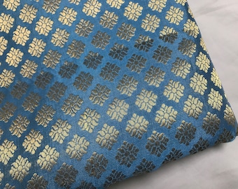 10% OFF One yard of Indian brocade fabric with gold motifs in sky blue/Costume fabric doll clothes fabric/dresd fabric/Benarasi  brocade