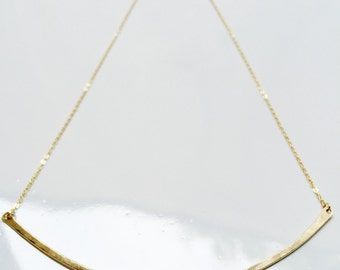 Gold Arc Necklace Gold Bar Necklace Thick Bar Necklace Simple Gold Necklace Matte Gold Necklace