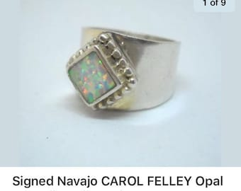 Carol Felley signed  Navajo  Opal ring size 5. Sterling silver