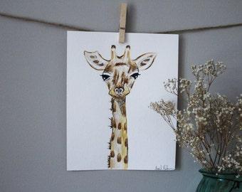 ORIGINAL Watercolor Baby Nursery Safari Animals Wall Art Giraffe