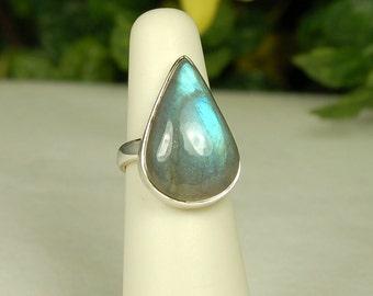 Labradorite Ring, Size 6.5, Electric Blue Flash, Pear Shape, Sterling Silver, Spectrolite, Natural Labradorite, Blue Labradorite