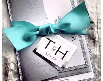 Teal Wedding Invitations, Silver Glitter Wedding Invitation, script invitations, modern invitations, wedding invites, glittern invitations