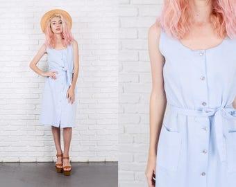 Vintage 80s White + Blue Striped Dress Sheath Pinstripe Retro Small S 9818
