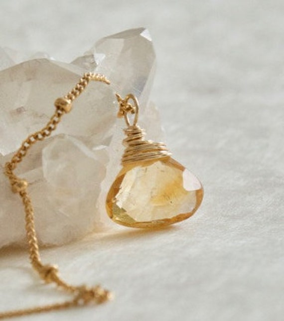 Citrine Necklace, Gemstone Pendant, Gold-Filled, November Birthstone, Beaded Chain, Yellow Gemstone