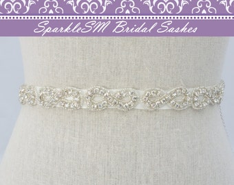 Crystal Sash, Wedding Sash, Bridal Sash, Bridal Belt, Jeweled Sash, Prom Dress Sash, Thin Bridal Sash, Crystal Belt, Wedding Gown Sash
