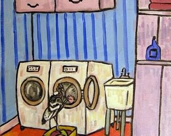 25% off Condor Doing the Laundry Bird Art Tile Coaster gift pop art folk art modern JSCHMETZ