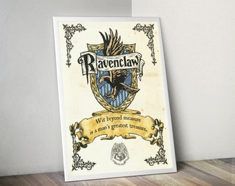 Harry Potter Hogwatrs Raven Claw Ravenclaw House Parchment Quality Prints Wall Decor Geek Nerd Fantasy Poster Dead or Alive