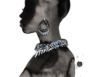This is how I show my love, print from original watercolor and pen fashion illustration by Jessica Durrant