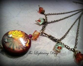 Antique Brass Vintaj Necklace - Fern Design -  Mirage Mood Color Changing Focal Bead, Red, Orange, Blue Colors - Victorian Necklace