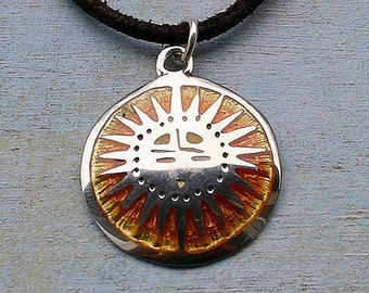 Leather Surfer Necklace Celtic Knot Sun Pendant