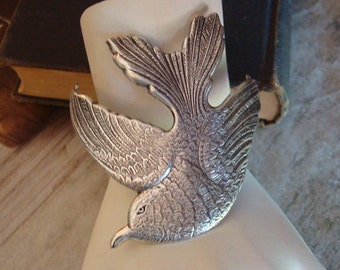 Silver Ox, Jewelry Supplies, Bird In Flight, Bracelet or Necklace Supply, Cuff, Rings Attached For A Professional Jewelry Component, USA
