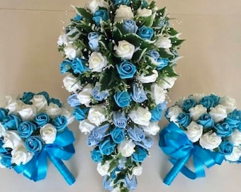 Artificial Wedding Flowers, Brides Teardrop Bouquet with two bridesmaids Posies, Ivory and Turquoise Roses, Crystal Sprays