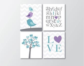 Purple and Teal Girl Nursery - Woodland Decor - Bird Nursery Decor - Girls Room Wall Art - Nursery Decor - Girls Wall Art - Printable Art