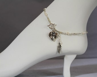 Freshwater Pearl, Silver Leaf and Dangling Charm Anklet