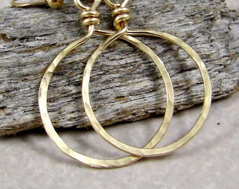 Small Gold Hoop Earrings 14K Gold Fill Hammered Hoops Eco Friendly Jewelry Gifts for Her