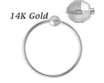 Diamond Cut Beaded nose ring 14K Solid WHITE Gold 22G 6mm-8mm Soldered 1 Side (Made in USA)